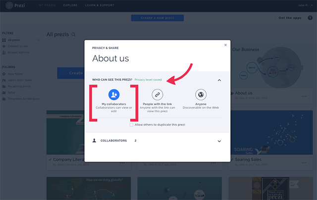 how to change privacy level on prezi