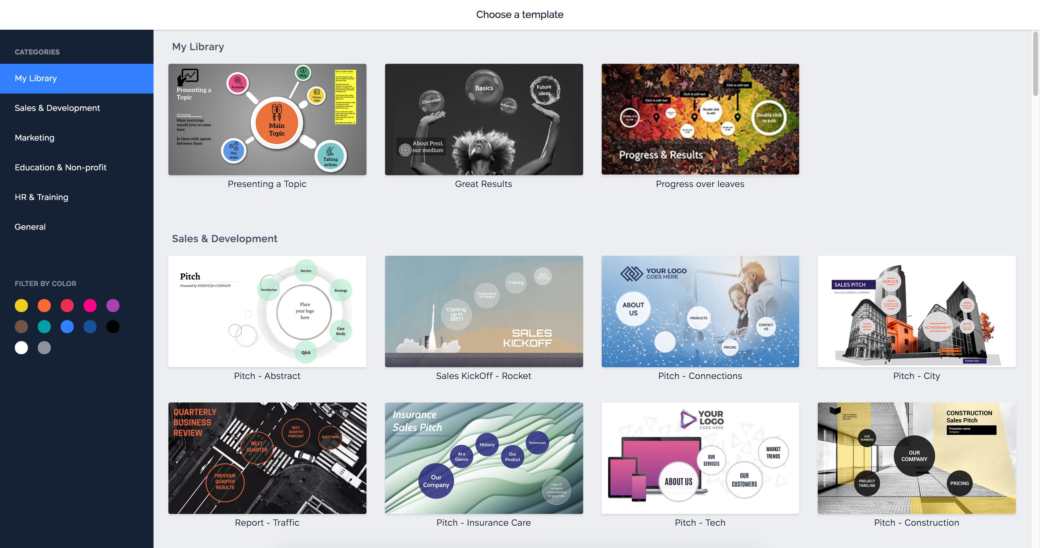 using templates | prezi next support, Presentation templates
