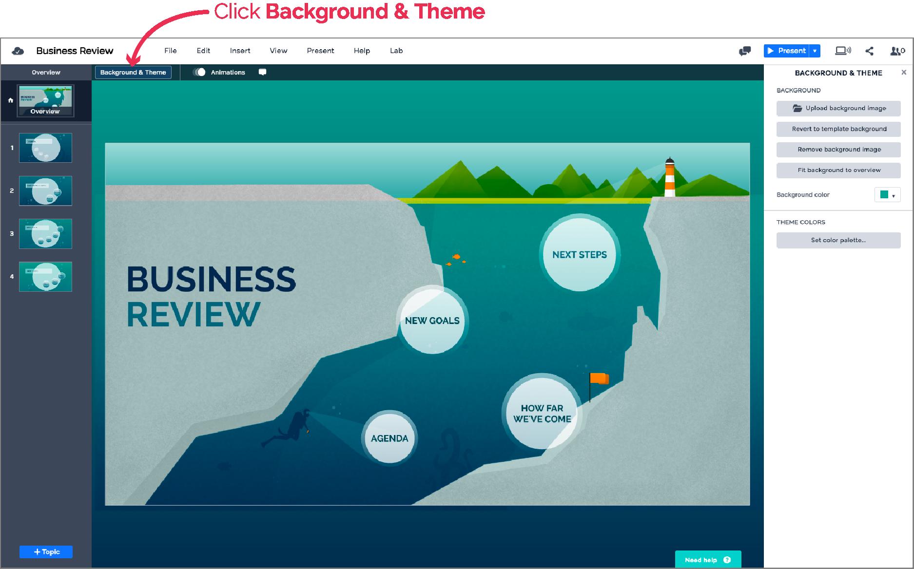 setting the theme | prezi next support, Presentation templates
