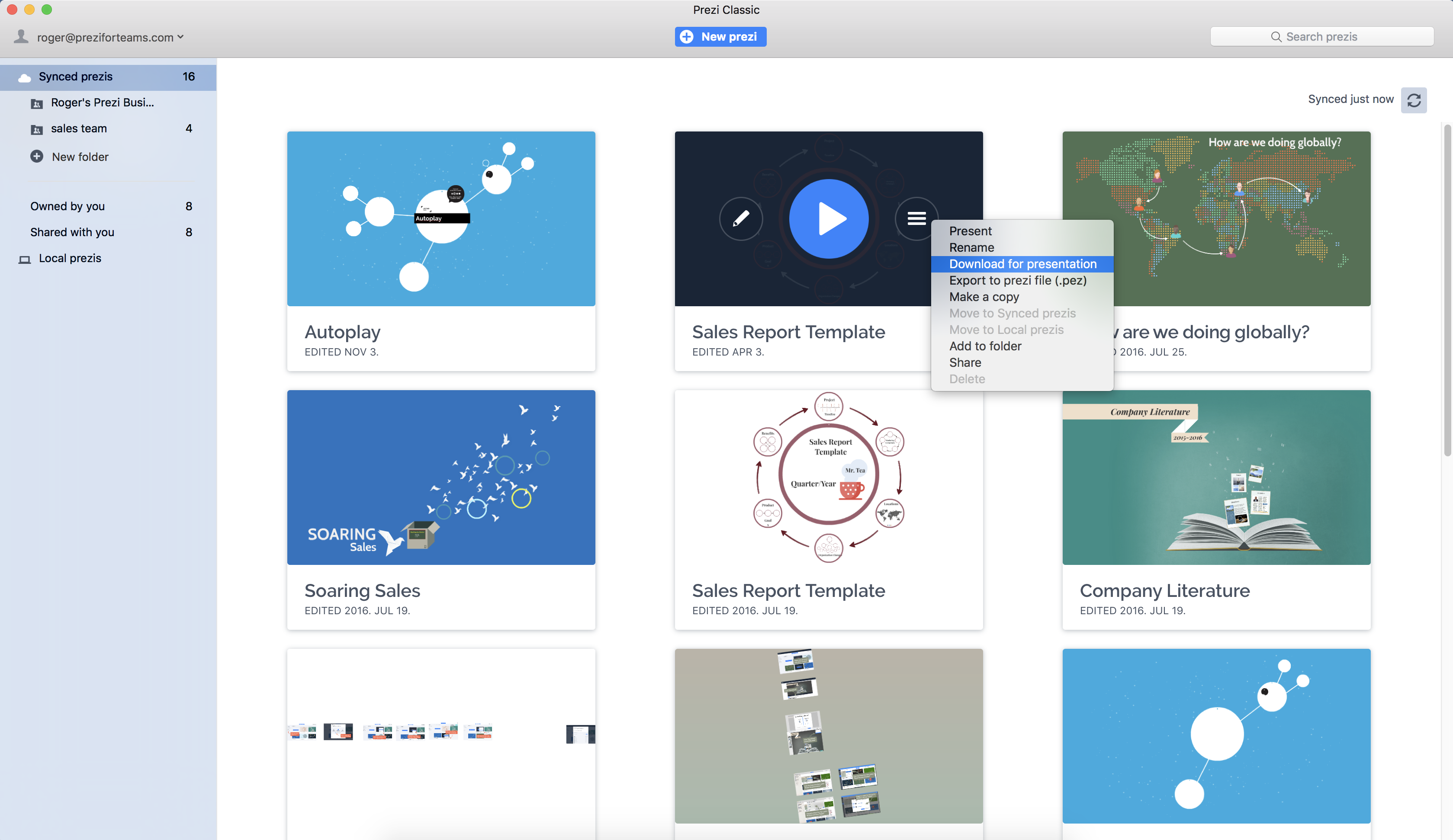 Edit, store, sync, and present prezis anywhere, online or offline