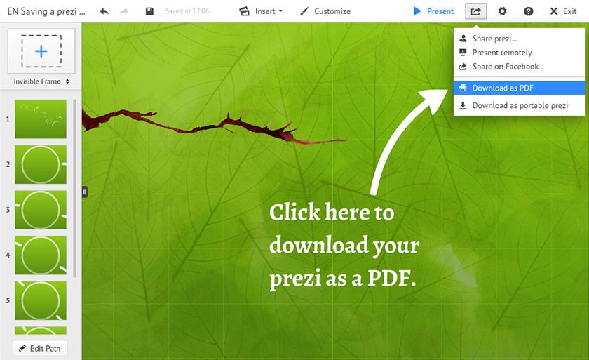 Saving a Prezi as a PDF | Prezi Classic Support
