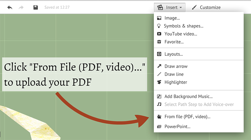 Inserting PDF and Excel Files | Prezi Classic Support