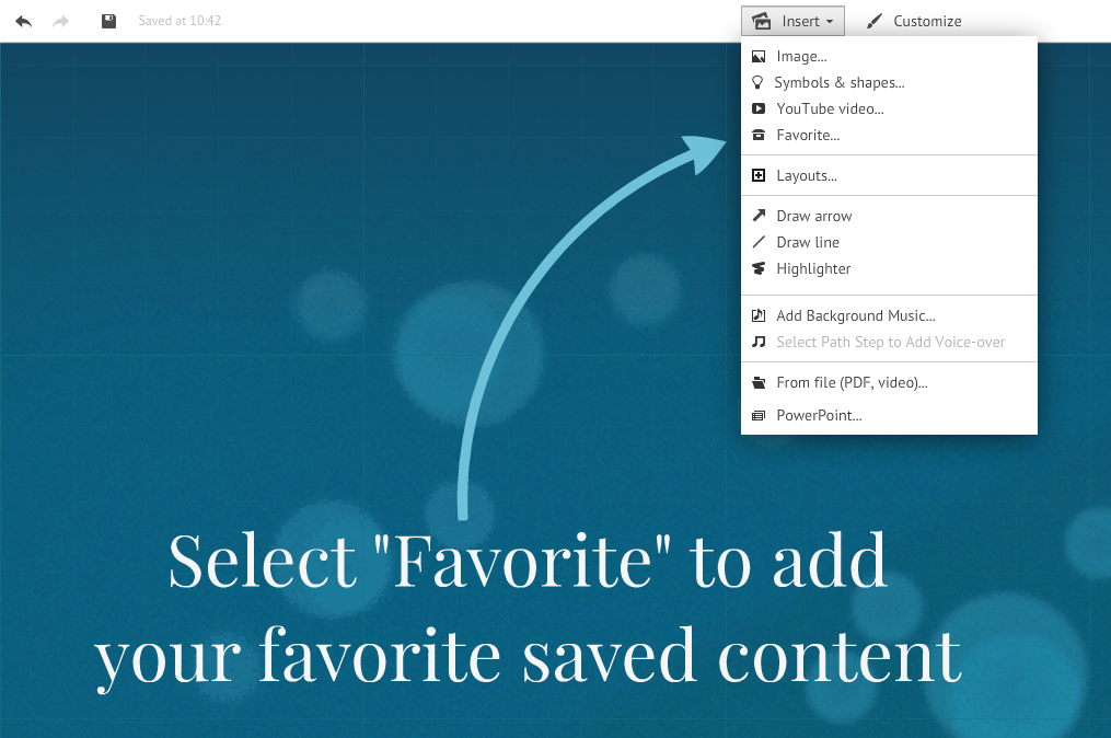 reusing saved content from your favorites