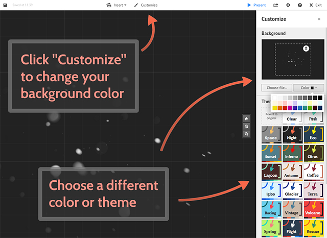 From Here You Can Change The Background Color Of Your Prezi