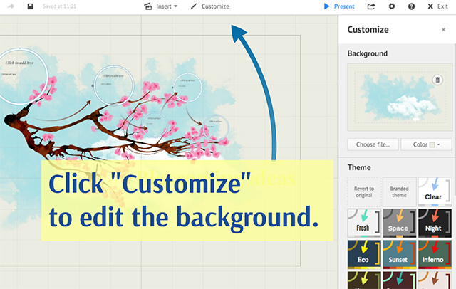 Backgrounds prezi classic support click customize from the top menu to get the customize sidebar stopboris Gallery