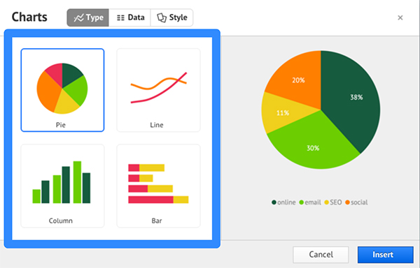 Using Charts  Prezi Classic Support